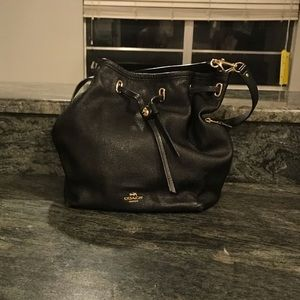 Black Leather Coach New York Purse